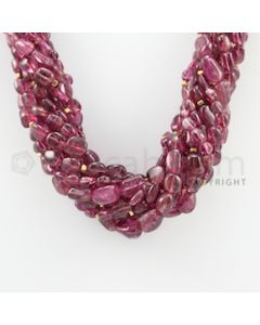 6.00 to 13.00 mm - 12 Lines - Tourmaline Tumbled Beads Necklace - 18 inches (CSNKL1063)