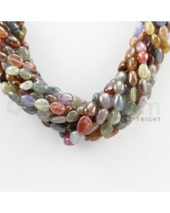 8.00 to 12.00 mm - 9 Lines - Multi-Sapphire Tumbled Beads Necklace - 16.50 inches (CSNKL1066)