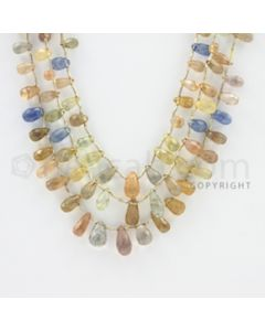 4.00 to 10.00 mm - 3 Lines - Multi-Sapphire Pear Drops - 18 to 20 inches (MSPD1007)
