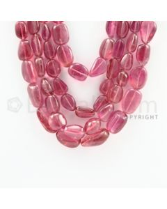 8.80 to 24.00 mm - 4 Lines - Pink Tourmaline Tumbled Beads Necklace - 18 to 21 inches (CSNKL1080)