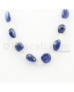 11.00 to 18.00 mm - 1 Line - Sapphire Tumbled Necklace - 16 inches (FJewelry1006)