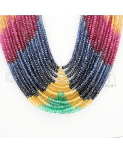 2.00 to 3.00 mm - 15 Lines - Multi-Sapphire, Emerald, Ruby Faceted Beads - 22 to 28 inches (MSFB1031)