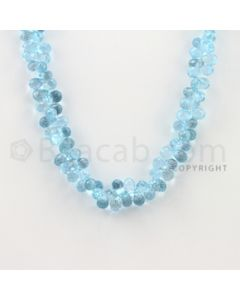 6.00 to 8.30 mm - 1 Line - Blue Topaz Drop Beads - 18 inches (BT1004)