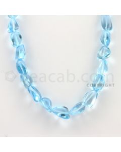 15.00 to 20.00 mm - 1 Line - Blue Topaz Tumbled Beads - 24 inches (BTTuB1004)