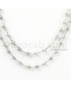 2.50 to 3.00 mm - 1 Line - Gray Diamond Faceted Beads Wire Wrap Necklace - 40 inches (GWWD1026)