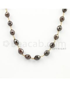 6.60 to 8.00 mm - 1 Line - Brown Diamond Drum Beads Wire Wrap Necklace - 18 inches (GWWD1056)