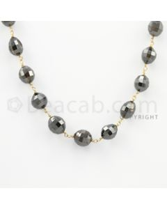 6.00 to 9.00 mm - 1 Line - Brown Diamond Drum Beads Wire Wrap Necklace - 18 inches (GWWD1058)