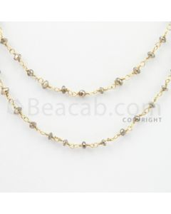 2.30 to 3.00 mm - 1 Line - Brown Diamond Faceted Beads Wire Wrap Necklace - 40 inches (GWWD1063)