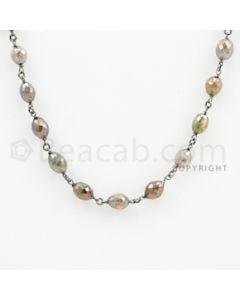 4.30 to 6.20 mm - 1 Line - Fancy Diamond Drum Beads Wire Wrap Necklace - 25 inches (GWWD1076)