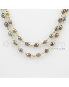 3.20 to 7.60 mm - 1 Line - Fancy Diamond Drum Beads Wire Wrap Necklace - 32 inches (GWWD1077)