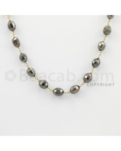 6.00 to 8.00 mm - 1 Line - Fancy Diamond Drum Beads Wire Wrap Necklace - 18 inches (GWWD1078)