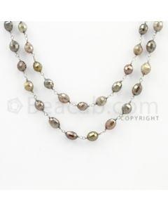 5.00 to 7.50 mm - 1 Line - Fancy Diamond Drum Beads Wire Wrap Necklace - 40 inches (GWWD1079)