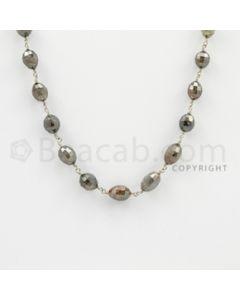 3.70 to 8.50 mm - 1 Line - Fancy Diamond Drum Beads Wire Wrap Necklace - 24 inches (GWWD1082)