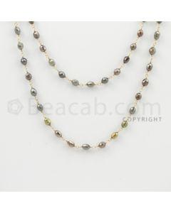 3.20 to 4.50 mm - 1 Line - Fancy Diamond Drum Beads Wire Wrap Necklace - 40 inches (GWWD1083)