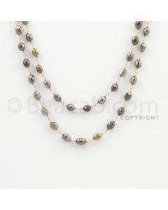 3.20 to 4.20 mm - 1 Line - Fancy Diamond Drum Beads Wire Wrap Necklace - 39 inches (GWWD1085)