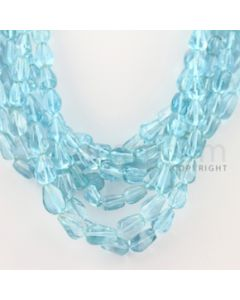 8.50 to 12.50 mm - 7 Lines - Blue Topaz Tumbled Beads - 17 inches (BTTuB1008)