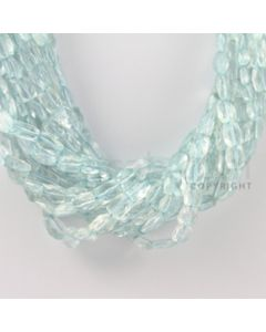 6.50 to 11.00 mm - 13 Lines - Aquamarine Faceted Rectangle Beads - 15 inches (AqFReB1003)