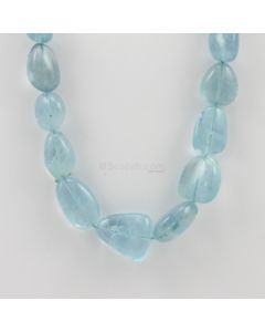 9.80 to 23 mm - 1 Line - Tumbled Aquamarine Beads - 453.00 carats (AqTuB1046)