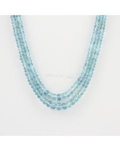 3.20 to 5.00 mm - 2 Lines - Aquamarine Gemstone Faceted Beads - 86.67 carats (AqFRoB1004)