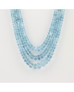 2.50 to 8.00 mm - 3 Lines - Aquamarine Gemstone Faceted Beads - 157.74 carats (AqFRoB1005)