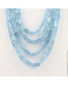 7.50 to 18 mm - 4 Lines - Aquamarine Gemstone Tube Beads - 1114.79 carats (AqTube1001)