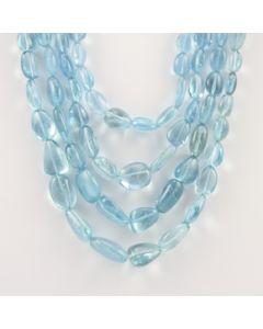 9 to 20 mm - 4 Lines - Aquamarine Gemstone Tumbled Beads - 808.33 carats (CSNKL1091)