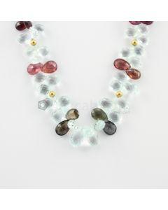 8.50 to 16 mm - 1 Line - Aquamarine and Tourmaline Drop Necklace - 259.46 carats (CSNKL1098)