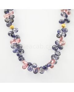 6.50 to 10 mm - Medium Violet Iolite Faceted Drop Necklace - 166.66 carats (CSNKL1152)
