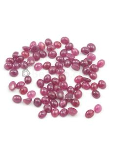 6 x 5 mm - Medium Red Oval Ruby Cabochons - 81 pieces - 85.13 carats (RuCab1038)