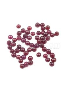 4.80 to 5.20 mm - Dark Red Round Ruby Cabochons - 57 pieces - 38.41 carats (RuCab1053)
