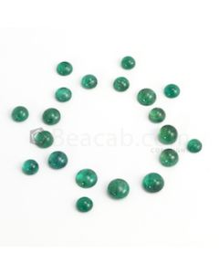 6 to 9 mm - Dark Green Round Emerald Cabochon - 20 pieces - 32.94 carats (EmCab1082)
