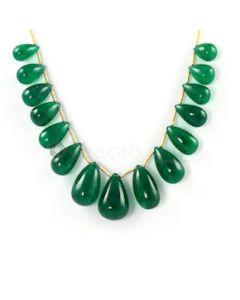 18 x 12 mm to 11 x 6.20 mm - Medium Green Emerald Drop - 15 pieces - 104.96 carats (EDr1040)