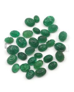 6 x 4 mm to 9 x 7 mm - Dark Green Emerald Carving - 30 pieces - 31.03 carats (EmCar1021)