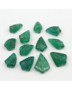 11.50 x 8 mm to 18 x 13 mm - Medium Green Emerald Carving - 12 pieces - 46.66 carats (EmCar1023)