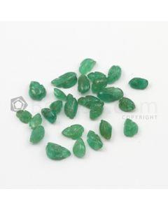 5 x 4 mm to 8 x 4.60 mm - Medium Green Emerald Carving - 25 pieces - 11.89 carats (EmCar1044)