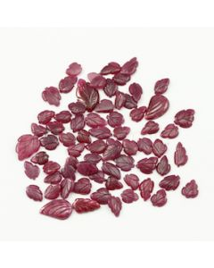 8.50 x 6 mm to 16.50 x 10 mm - Dark Red Ruby Leaf Shape Carving - 70 piece - 84.38 carats (RCar1013)