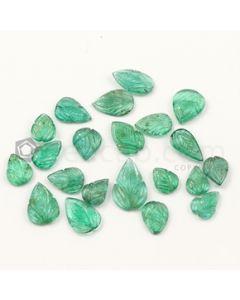 8.60 x 7 mm to 15.50 x 10 mm - Medium Green Emerald Carving - 21 pieces - 31.41 carats (EmCar1061)