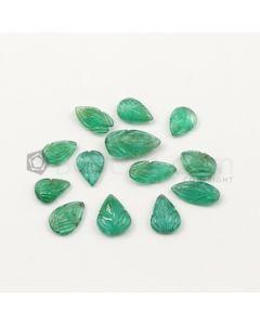 10.80 x 7 mm to 16.30 x 8.80 mm - Medium Green Emerald Carving - 13 pieces - 27.65 carats (EmCar1063)