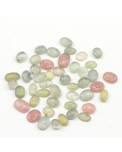 8.60 x 6.70 mm to 14 x 10 mm - Light Tones Multi-Sapphire Oval Shape Carving - 46 pieces - 174.50 carats (MSCar1010)