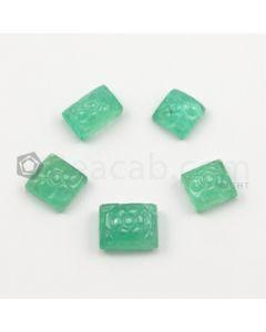 8.80 x 8.80 mm to 12 x 9.50 mm - Medium Green Emerald Carving - 2 pieces - 7.20 carats (EmCar1087)