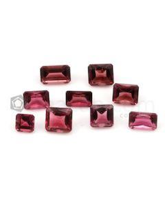 5 x 5 mm to 8.10 x 5.10 mm - Dark Pink Tourmaline Emerald Cut - 9 Pieces - 10.82 carats (ToCS1115)