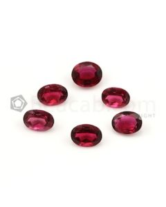 7.50 x 5.70 mm to 8.20 x 6 mm - Dark Red Tourmaline Oval Cut - 6 Pieces - 7.91 carats (ToCS1125)