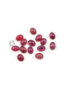 8 x 6 mm - Dark Pink Tourmaline Oval Cabochons - 13 Pieces - 19.01 carats (ToCab1027)