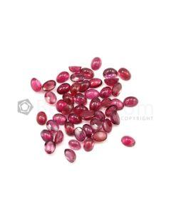 7 x 5 mm - Dark Pink Tourmaline Oval Cabochons - 48 Pieces - 42.11 carats (ToCab1070)