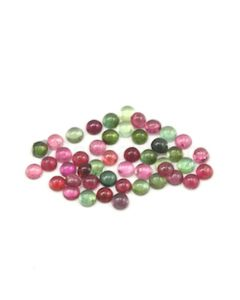 6 mm - Dark Tones Tourmaline Round Cabochons - 46 Pieces - 43.00 carats (ToCab1094)