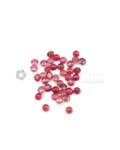 5 to 6 mm - Dark Pink Tourmaline Round Cabochons - 39 Pieces - 25.17 carats (ToCab1095)