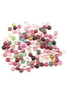 7 mm - Dark Tones Tourmaline Round Cabochons - 120 Pieces - 181.00 carats (ToCab1097)