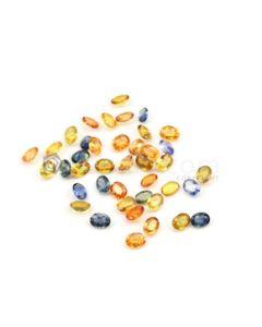 7 x 5 mm - Dark Tones Multi-Sapphire Oval Cut Stones - 41 Pieces - 40.54 carats (MSCS1034)
