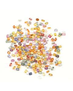 4 x 3 mm - Medium Tones Multi-Sapphire Emerald Cut Stones - 247 Pieces - 63.22 carats (MSCS1043)