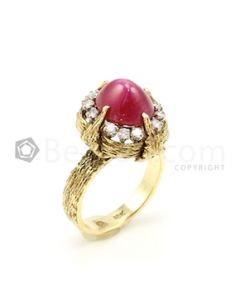 18kt Yellow Gold, Star Ruby and Diamond Lady's Ring -  - EST1007